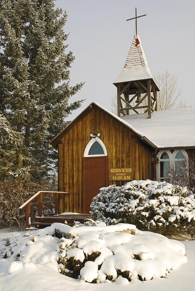 Millarville, Alberta, Canada, A Church In Winter