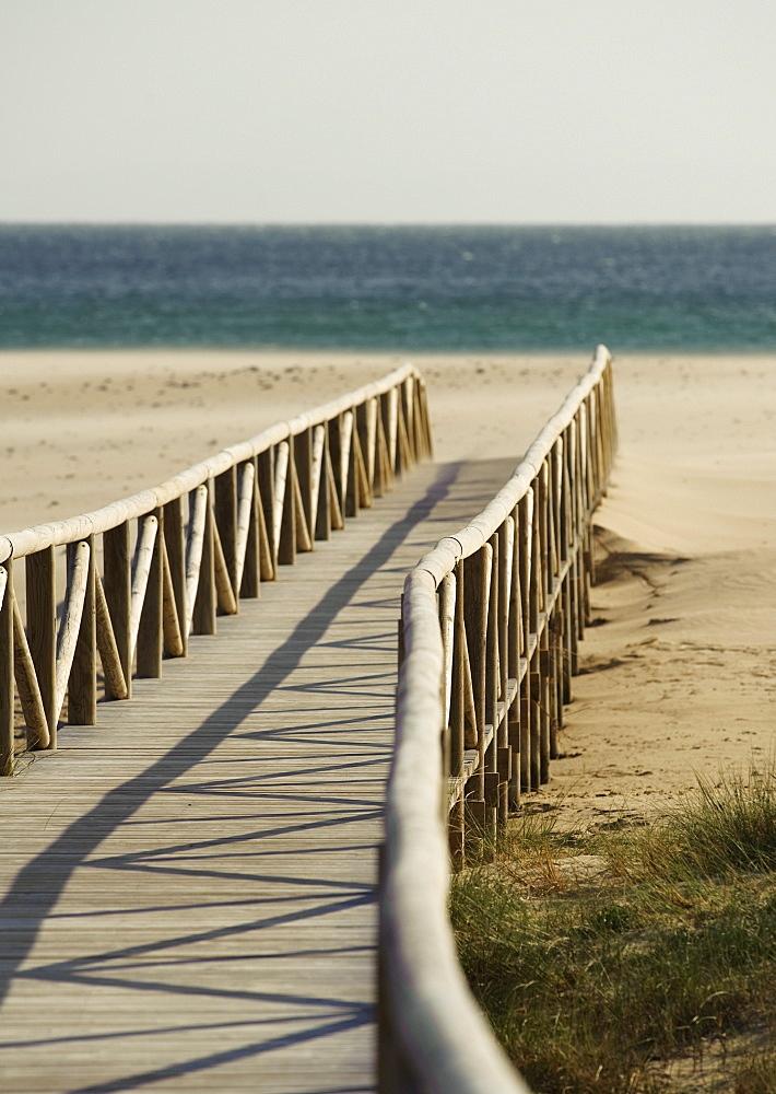 Dos Mares Beach In Front Of Hotel Dos Mares Along Costa De La Luz, Tarifa, Cadiz, Andalusia, Spain