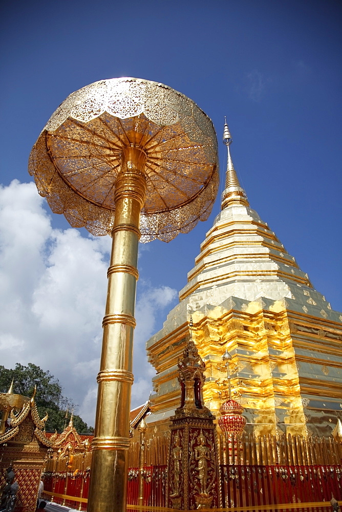 Golden Chedi At Doi Suteph Temple, Chiang Mai, Thailand