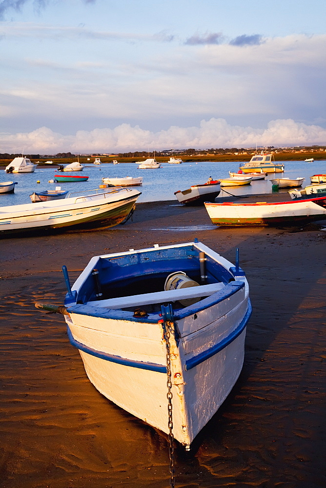 Boats Moored Near The Harbor Of Chiclana De La Frontera In Santa Petri, Andalusia, Spain