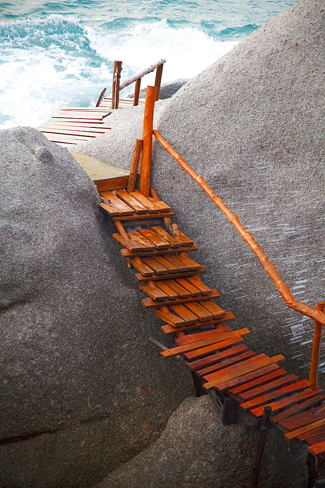 Wooden Boardwalk On The Rocks Along The Ocean, Koh Tao Thailand
