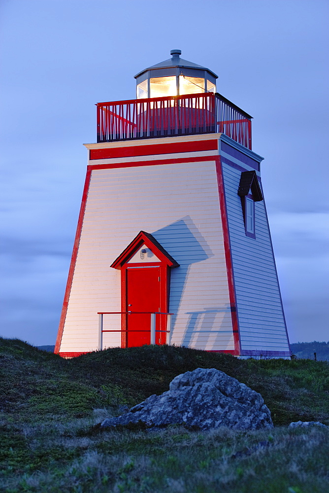 View Of Lighthouse At Twilight, Trinity, Newfoundland, Canada