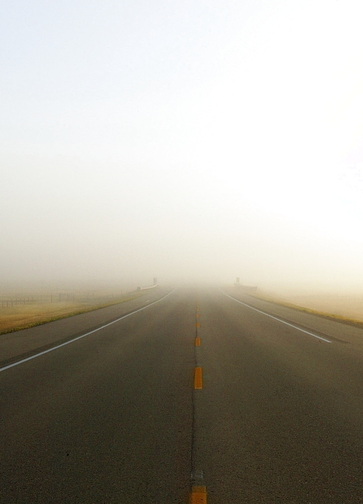 Highway In Misty Morning, Saskatchewan, Canada
