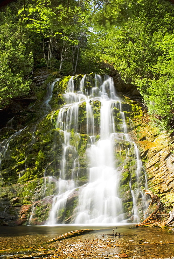 Scenic Waterfall In Forillon National Park, Quebec, Canada