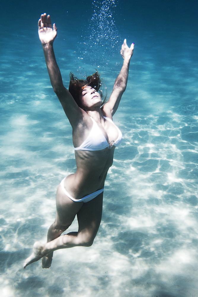 A Woman Floating Underwater, Tarifa, Cadiz, Andalusia, Spain - 1116-41623
