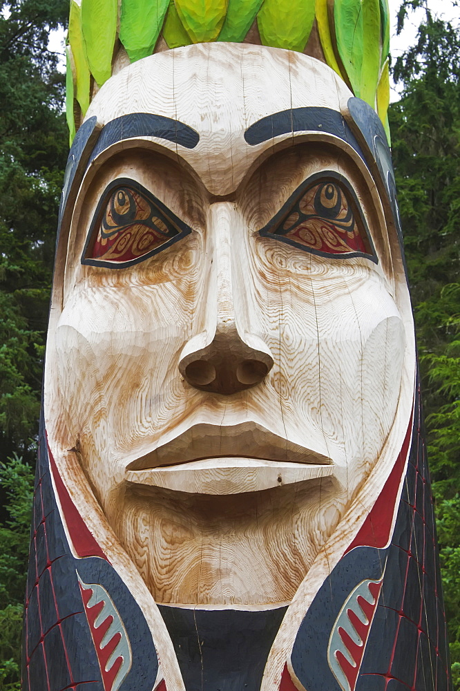 Close Up Of A Totem In Sitka National Historical Park, Southeast Alaska, Fall