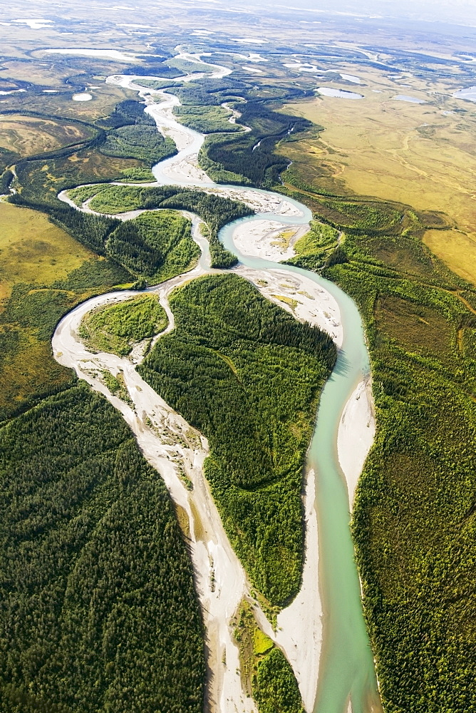 Views From The Flight Through The Brooks Range Out To The Noatak River, Arctic Alaska In Summertime, Alaska, United States Of America