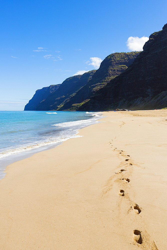 Footprints in the sand on polihale beach, Kauai, hawaii, united states of america