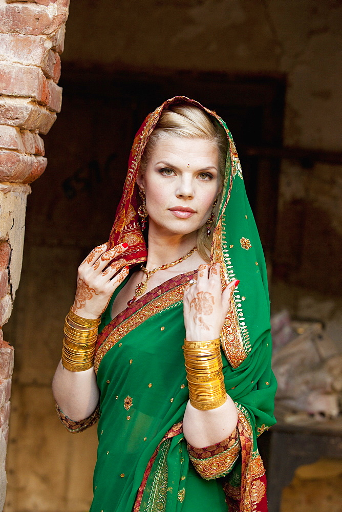 Portrait Of A Blond Woman Wearing A Sari And Headscarf, Ludhiana, Punjab, India