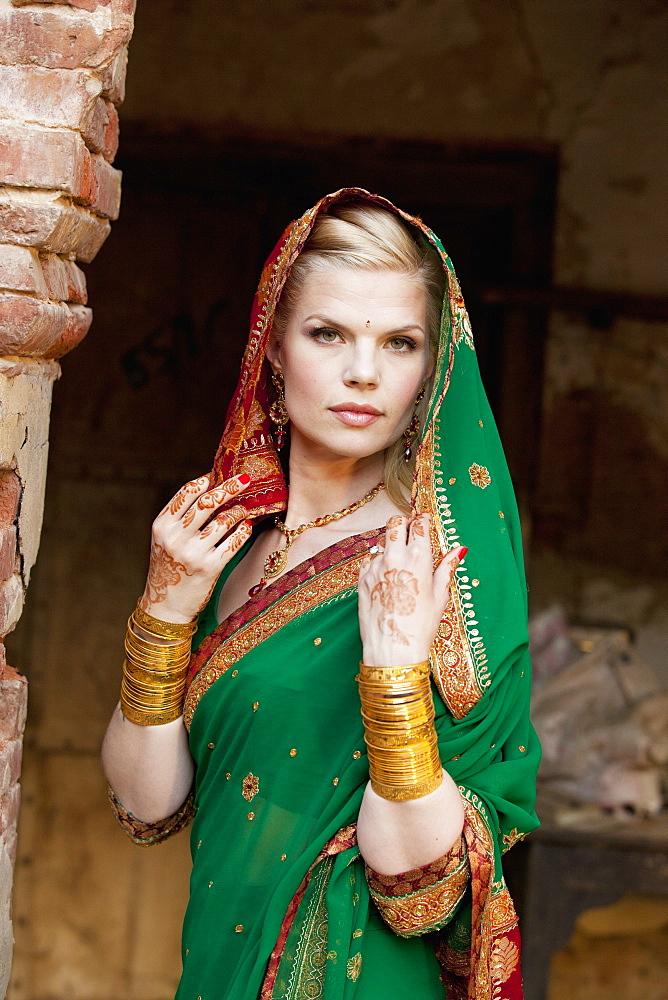 Portrait Of A Blond Woman Wearing A Sari And Headscarf, Ludhiana, Punjab, India