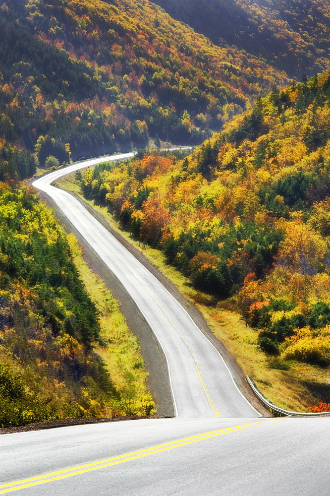Cabot Trail Winds Through Autumn Colors In Cape Breton Highlands National Park.