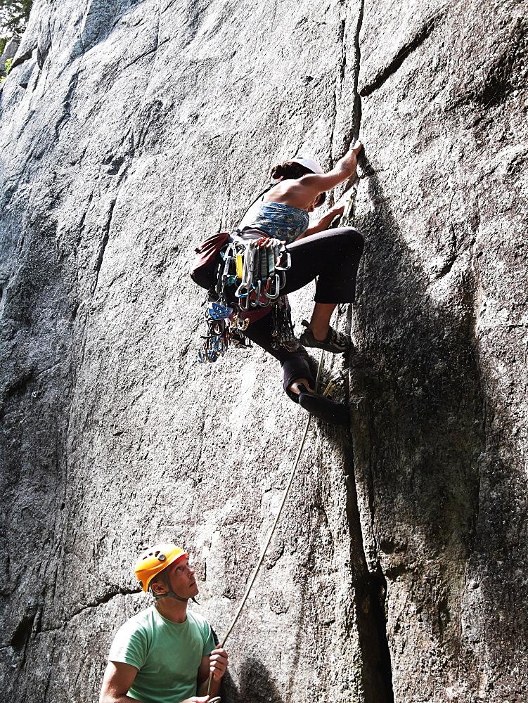 Rock Climbers, Laurentians, Quebec, Canada