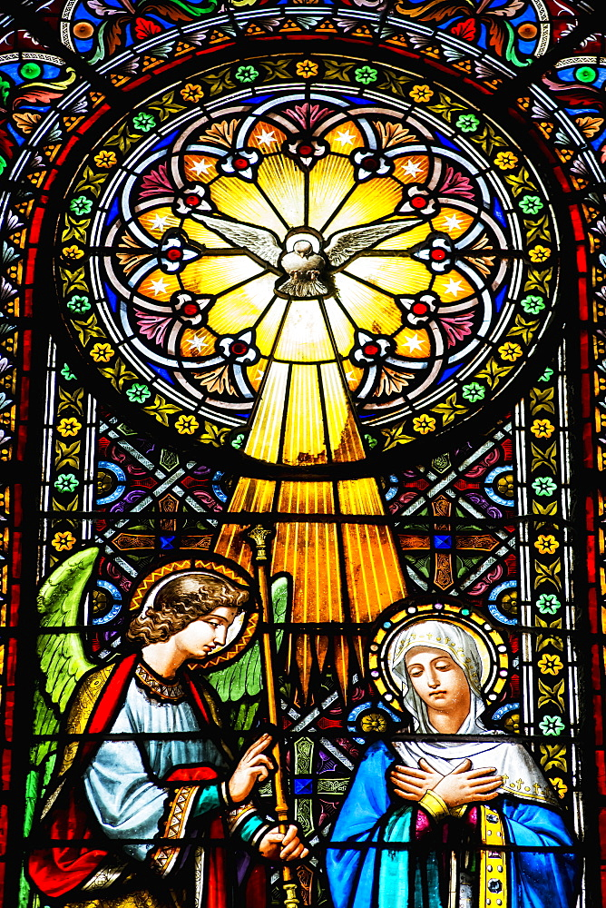 Colourful Stained Glass Windows In The Benedictine Abbey, Montserrat, Catalonia, Spain