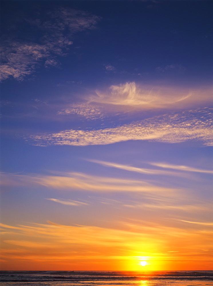The Sun Sets At Umpqua Beach, Winchester Bay, Oregon, United States Of America