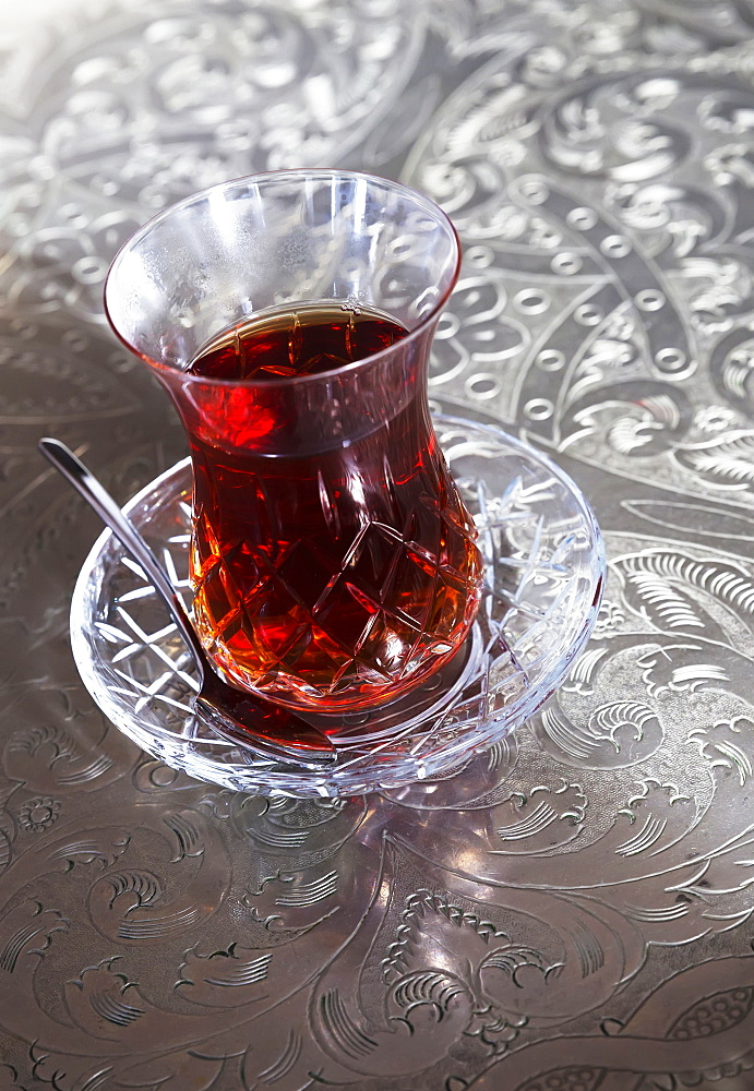 Beverage In A Glass Cup With A Saucer And Spoon, Istanbul, Turkey