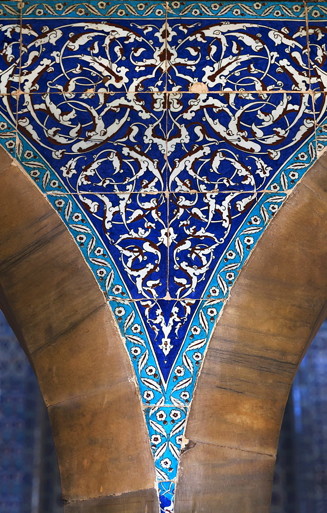 Blue Tile Mosaic On A Wall, Istanbul, Turkey