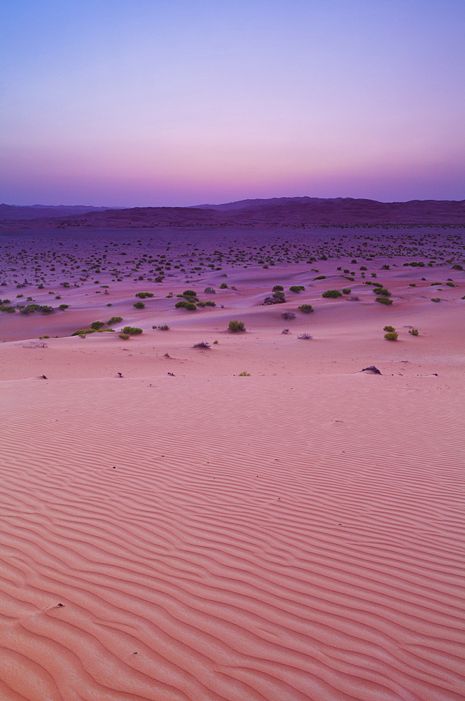 Sunset Over Sand Dune Landscape, Liwa Oasis, Abu Dhabi, United Arab Emirates
