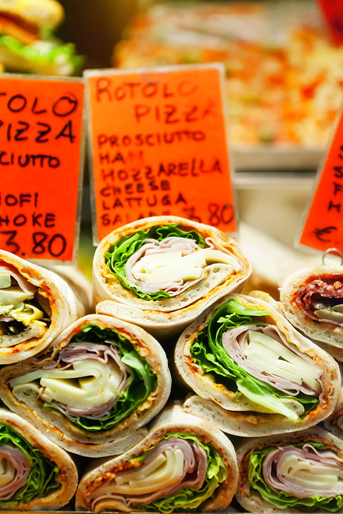 Wraps On Display At A Restaurant, Venice, Italy