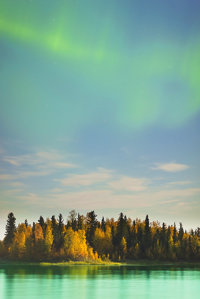 Autumn Foliage Reflected In The Water At The Chena Lakes Recreation Area, Northern Lights In The Sky, Fairbanks, Alaska, United States Of America