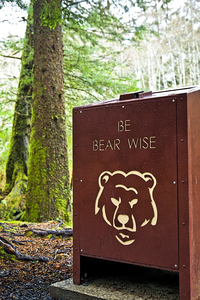 Bear Proof Trash Can At Totem Trail, Sitka National Historical Park, Sitka, Alaska, United States Of America