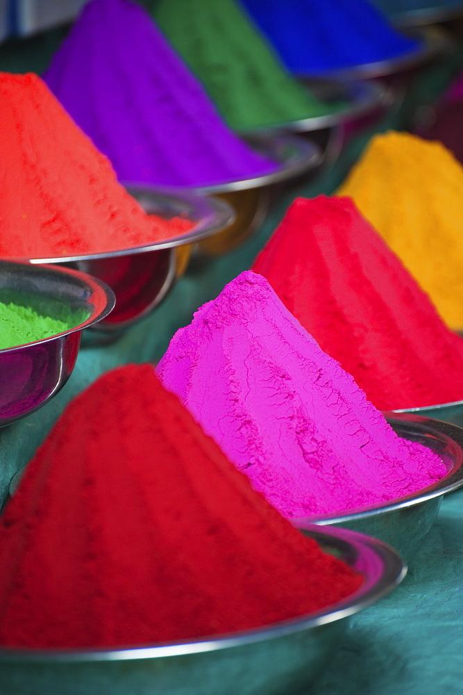 Colourful Dye Powders In Bowls At Devaraja Market, Mysore, India