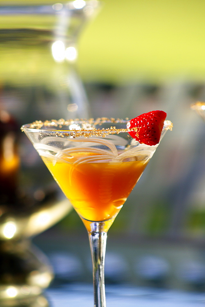 Hawaii, Maui, A Tropical Mango Martini With Strawberry Garnish.