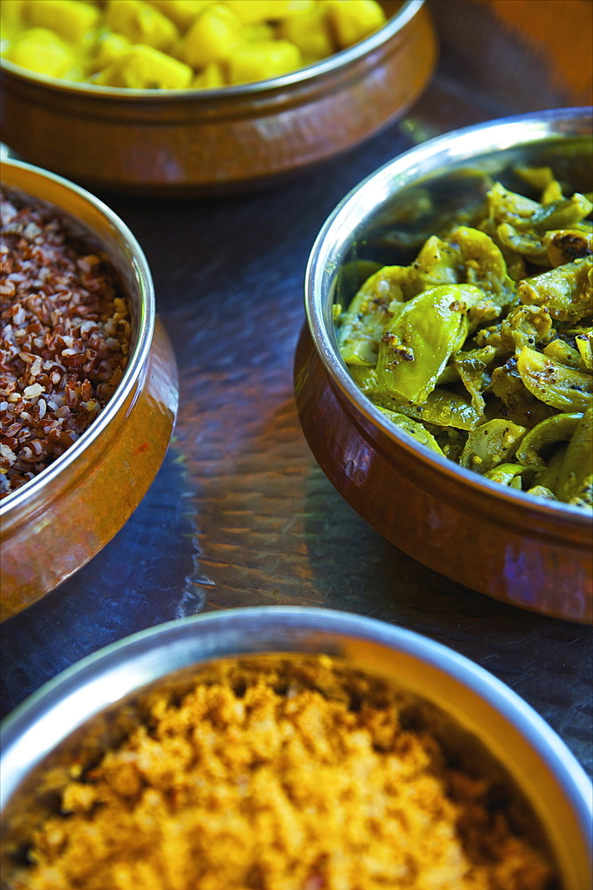 A Variety Of Food Dishes In A Variety Of Colours, Ulpotha, Embogama, Sri Lanka