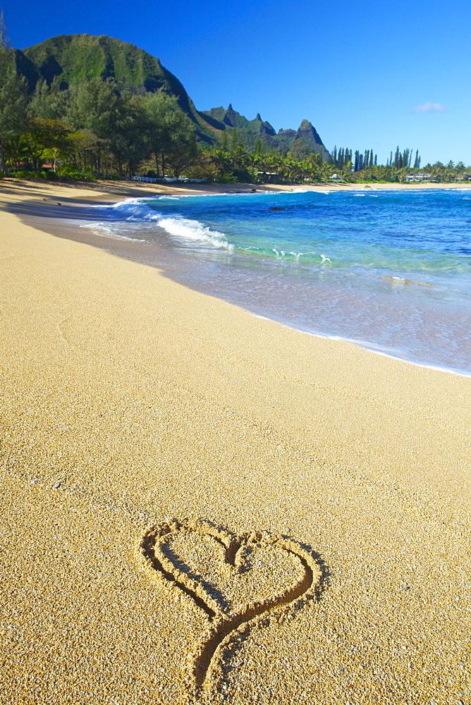 A Heart Shape Drawn In The Sand On Tunnels Beach, Kauai, Hawaii, United States Of America