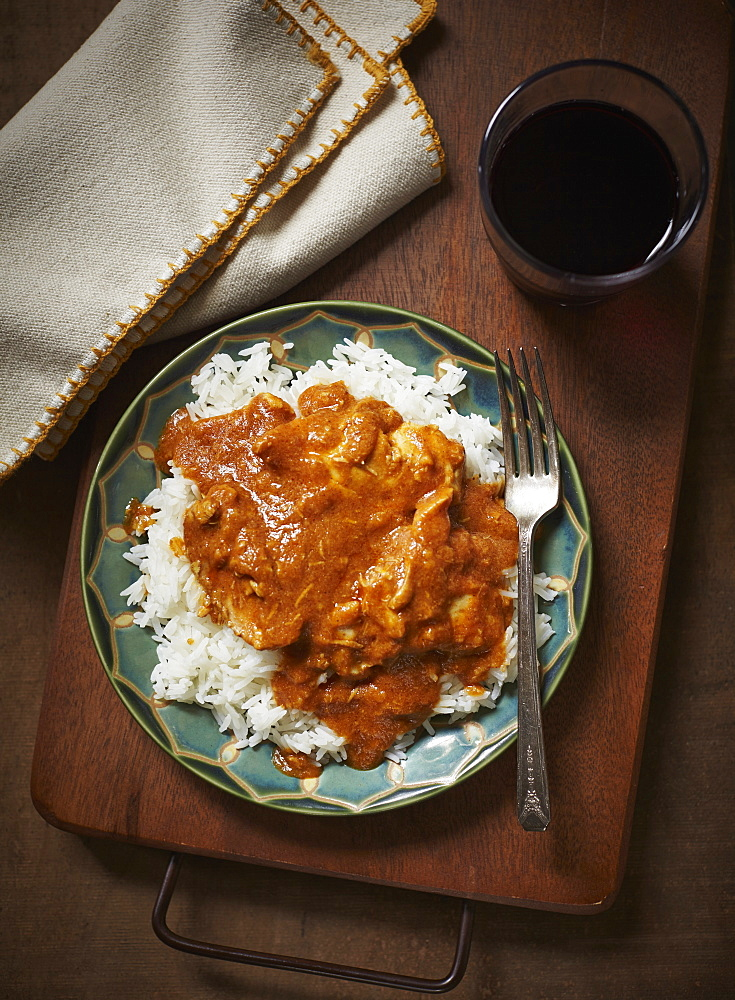 Butter Chicken And Rice On A Plate - 1116-43302