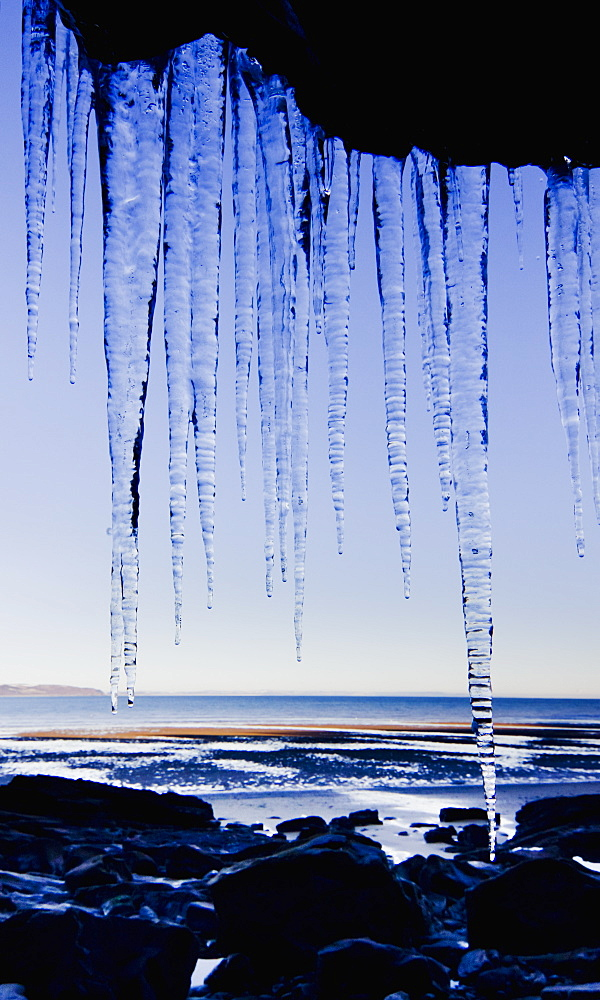 Icicles Hanging Down A Cliff Face, United Kingdom