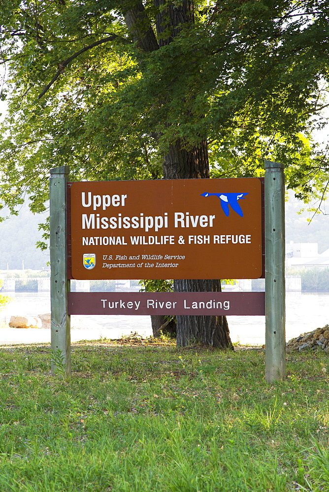Upper Mississippi River National Wildlife And Fish Refuge Sign At The Turkey River Landing, Near Millville, Iowa, United States Of America