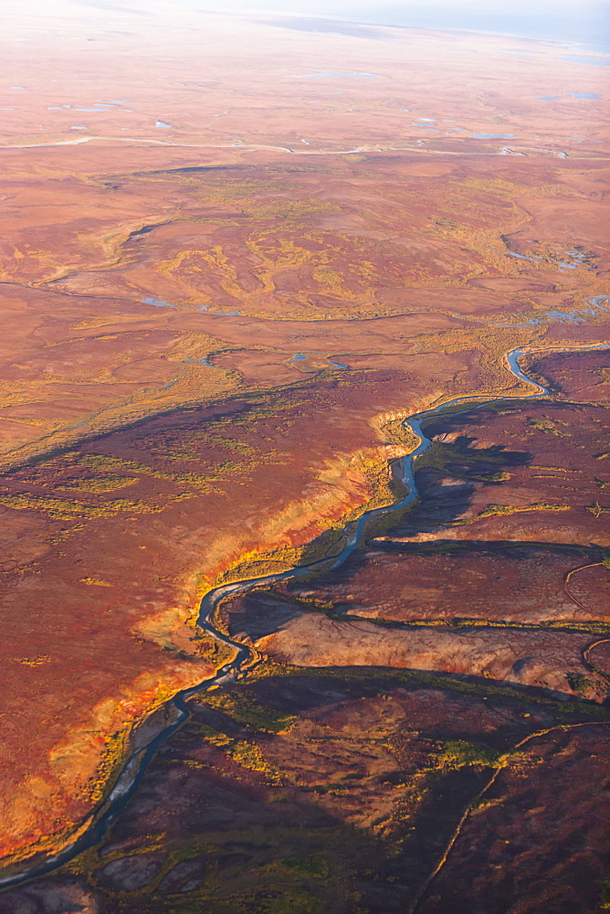 Aerial View Of The Nome River And Kigluaik Mountains, North Of Nome, Seward Peninsula, Alaska, United States Of America