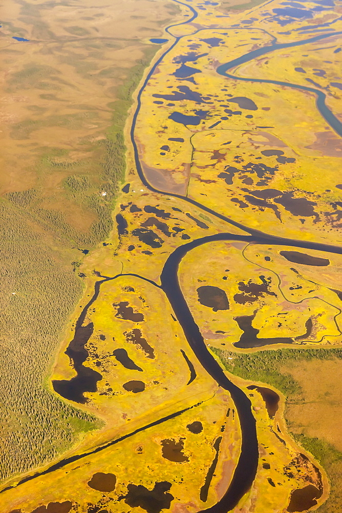 Aerial View Of Wetlands And Tundra Along The Noatak River Delta, Noatak, Alaska, United States Of America
