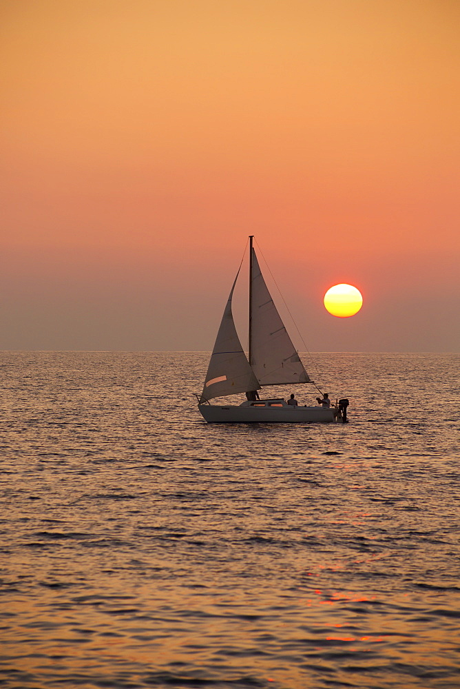 Sailboat Sailing At Sunset, Wailea, Maui, Hawaii, United States Of America