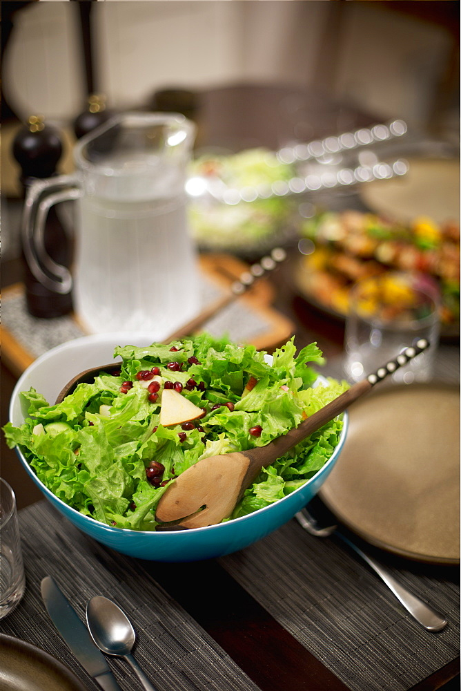 Salad On A Table Set For Dinnertime, Vancouver, British Columbia, Canada