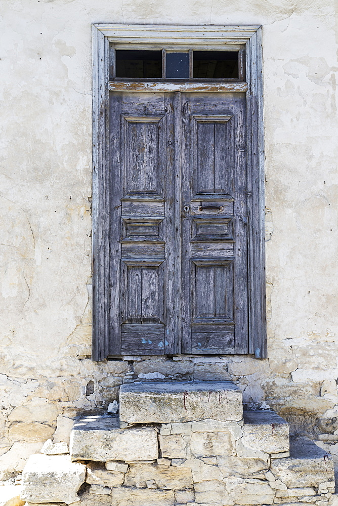 Weathered Wooden Door With Stone Slab Steps, Arsos, Limassol, Cyprus