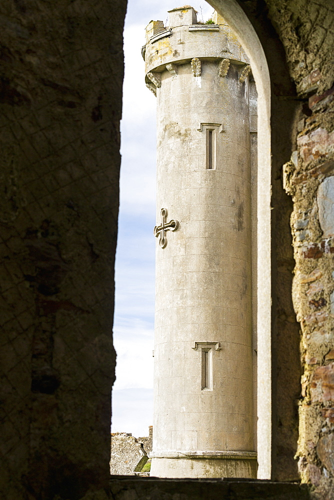 Castle Turret Framed In Large Window Of Stone Wall, Clifden, County Galway, Ireland