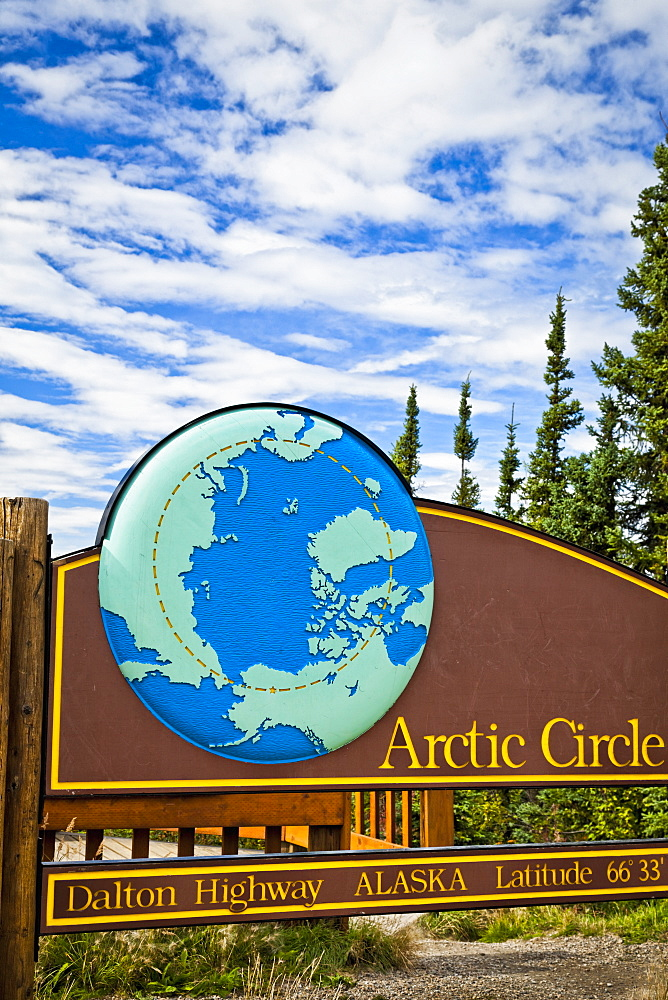 Arctic Circle Sign At Latitude 66 33 On The Dalton Hwy, Arctic Alaska, Summer.