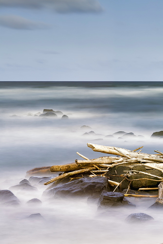 Driftwood And Rocks Along The Coast Of Lydgate Beach Park, Lydgate, Kauai, Hawaii, United States Of America