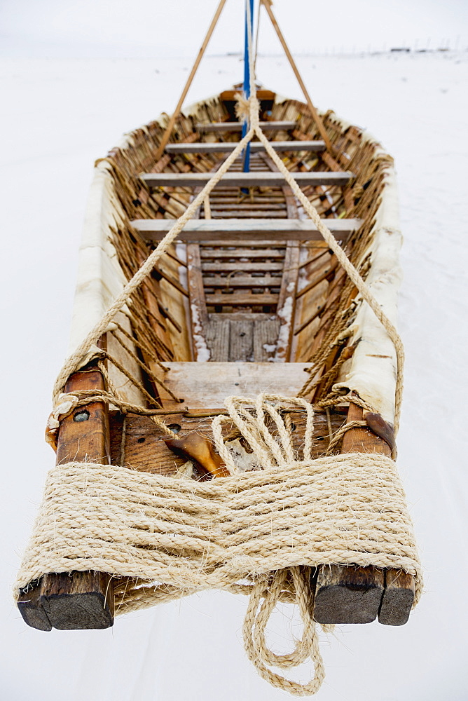 View Of The Interior Of An Umiak Skin Boat, Barrow, North Slope, Arctic Alaska, USA, Winter