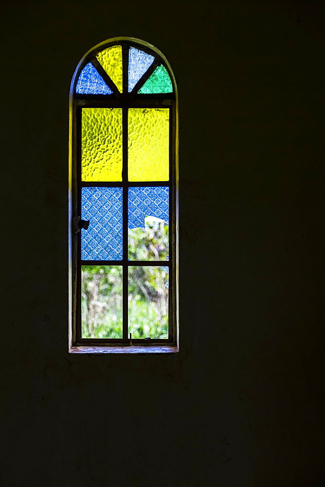 Blue, Yellow And Green Stained Glass Window, Gulu, Uganda