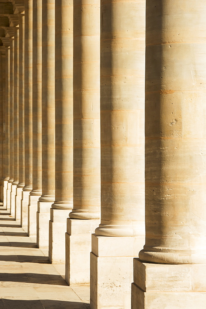 A Row Of Pillars At Palais Royal Form An Interesting Pattern, Paris, France