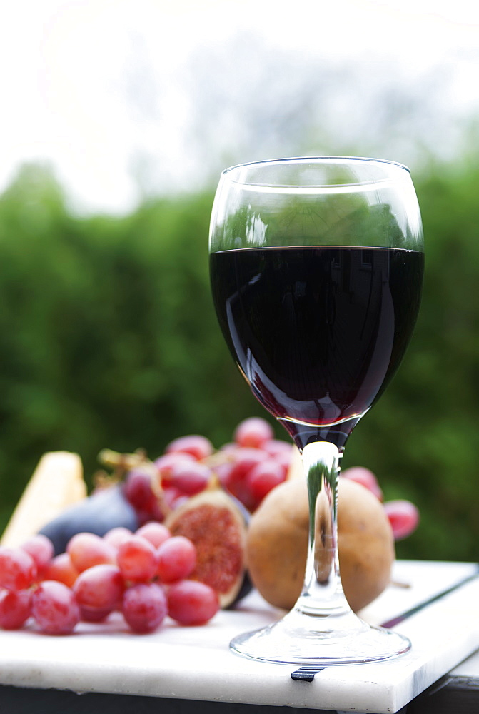 A Glass Of Red Wine With A Fruit Platter, Laval, Quebec, Canada