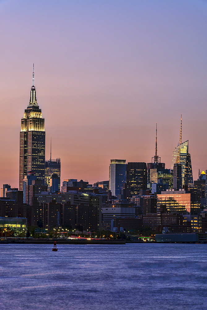 Empire State Building At Sunset, New York City, New York, United States Of America