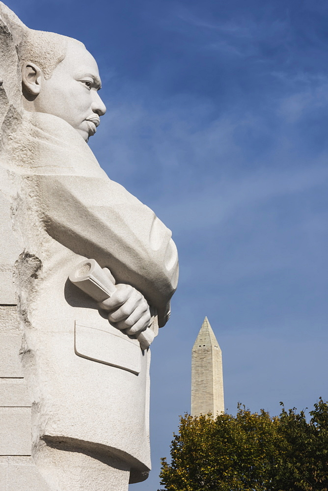 Martin Luther King Junior Memorial, Located On Four Acres Along Tidal Basin, Dedicated In 2011, 30 Foot Granite Sculpture Called Stone Of Hope By Lei Yixen, Washington Monument In The Background, Washington, District Of Columbia, United States Of America