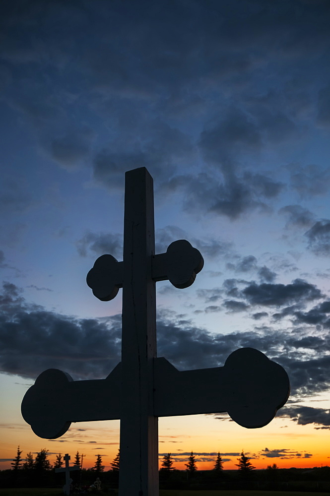 Russian Orthodox Cross At Sunset In A Naknek Cemetery, Southwest Alaska