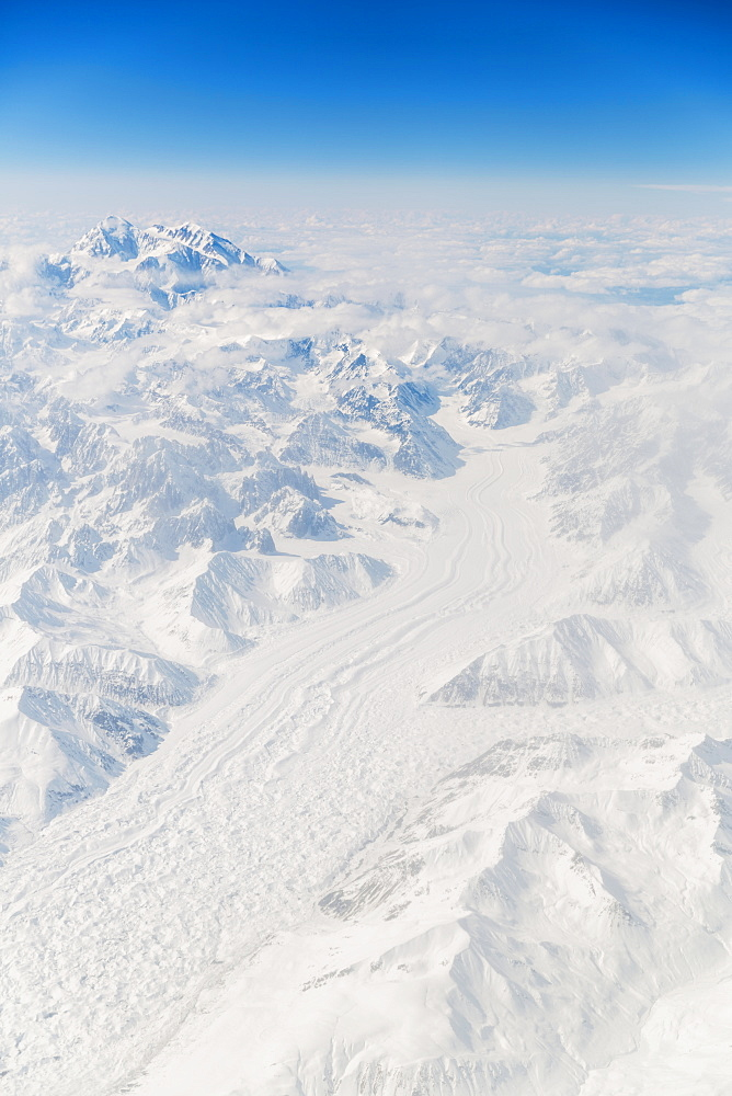 Aerial View Of Mt. Mckinley (Denali) Covered In Snow With The Buckskin Glacier Running Into The Foreground, Interior Alaska, USA, Winter