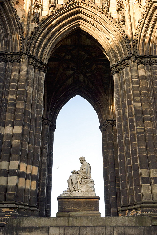 Ornate Facade Of An Arched Niche With Scott Monument, Princes Street Gardens, Edinburgh, Scotland