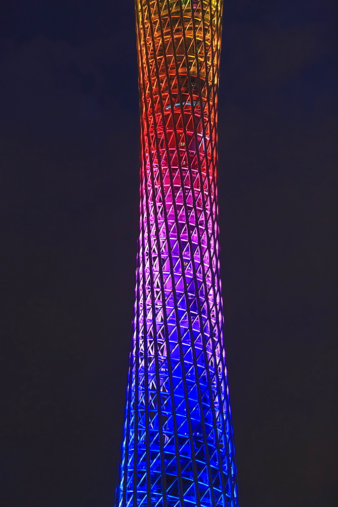 Canton Tower With Colourful Illumination At Nighttime, Guangzhou, China