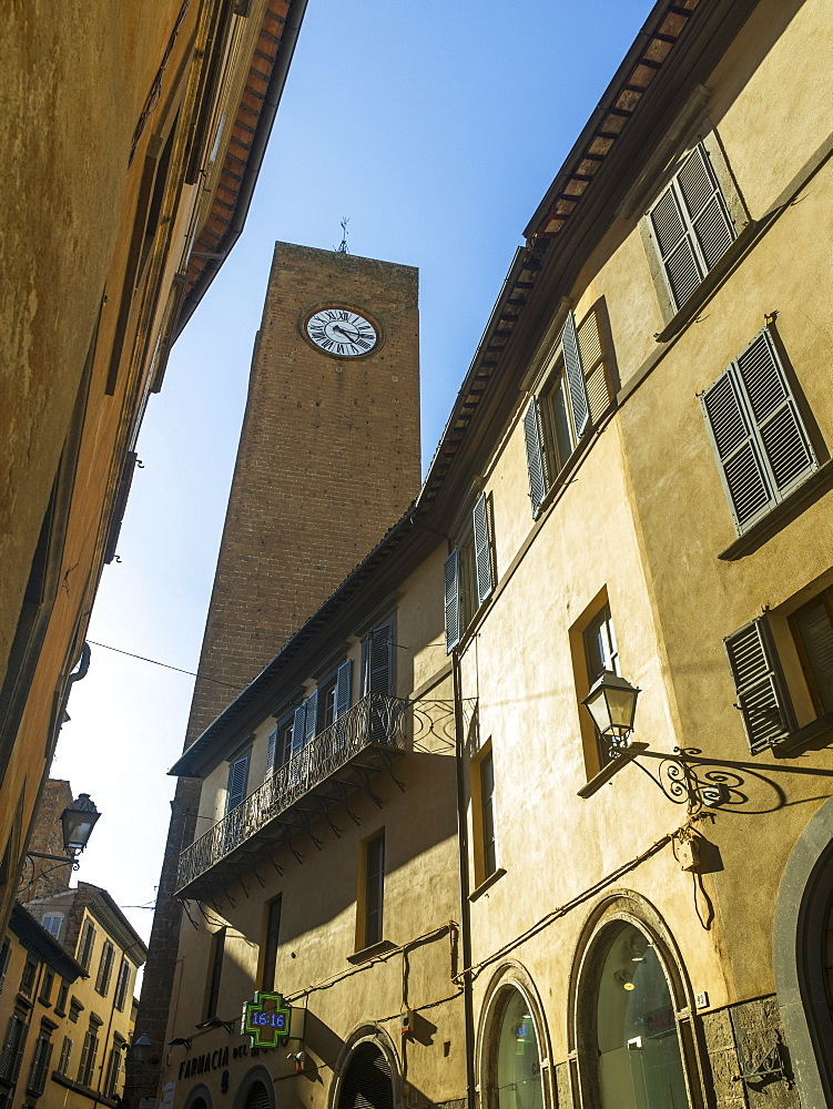 Clock Tower Against A Blue Sky, Orvieto, Umbria, Italy